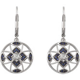 Decorative Sapphire & Diamond Lever Back Earrings