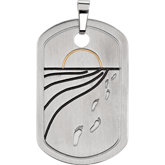 Joyas Alternativas™ Reversible Footprints Prayer Dog Tag Pendant