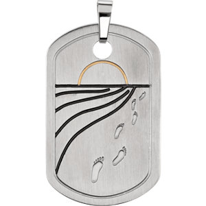 Joyas Alternativas™ Reversible Footprints Prayer Dog Tag Pendant or Necklace
