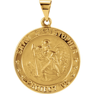 14kt Yellow 21.75mm Hollow Round St. Christopher Medal