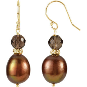 Freshwater Aultured Pearl<br> & Smoky Quartz Earrings
