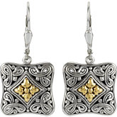 Filigree Design Lever Back Earrings with 18k Yellow Accents