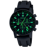 Wenger® Men's Swiss Raid Commando Chrono Black/Green Dial Black Strap