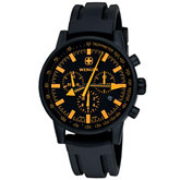 Wenger® Men's Swiss Raid Commando Chrono Orange/Black Dial Black Strap