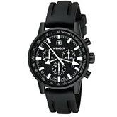 Wenger® Men's Commando Wper Chrono Black/White Dial Black Strap