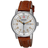 Wenger® Men's Commando Day Date XL Silver Dial Brown Strap