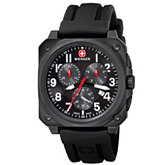 Wenger® Men's Aerograph Cockpit Chrono Rectangle PVD Black Dial Black Strap