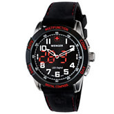 Wenger® Men's Nomad Analog Digital Compass Black/Red Dial Black/Red Strap