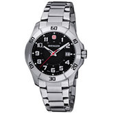 Wenger® Mens Alpine Black Dial Stainless Steel Watch