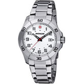 Wenger® Mens Alpine White Dial Stainless Steel Bracelet Watch