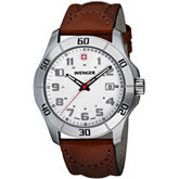 Wenger® Mens Alpine White Dial Brown Leather Strap Watch