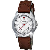 Wenger® Ladies Alpine White Dial Brown Leather Strap Watch