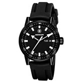 Wenger® Men's Commando Day Date XL Black Dial / Black Silicone Strap