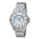 Wenger® Men's Squadron GMT White Dial Stainless Steel Bracelet
