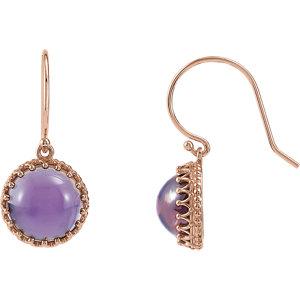 Round Gemstone Crown Design Dangle Earrings or Mounting