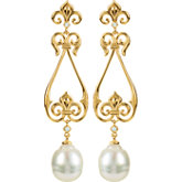 Fleur-de-Lis Design Dangle Earring for Pearl