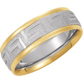 7mm Two-Tone Comfort-Fit Greek Key Design Band