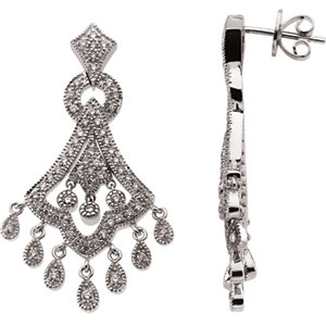 14kt White A/4 ATW<br> Diamond Earrings