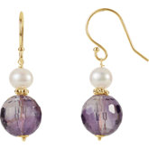 Freshwater Cultured Pearl & Amethyst Earrings