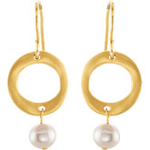 Freshwater Cultured Pearl & Fashion Circle Earrings