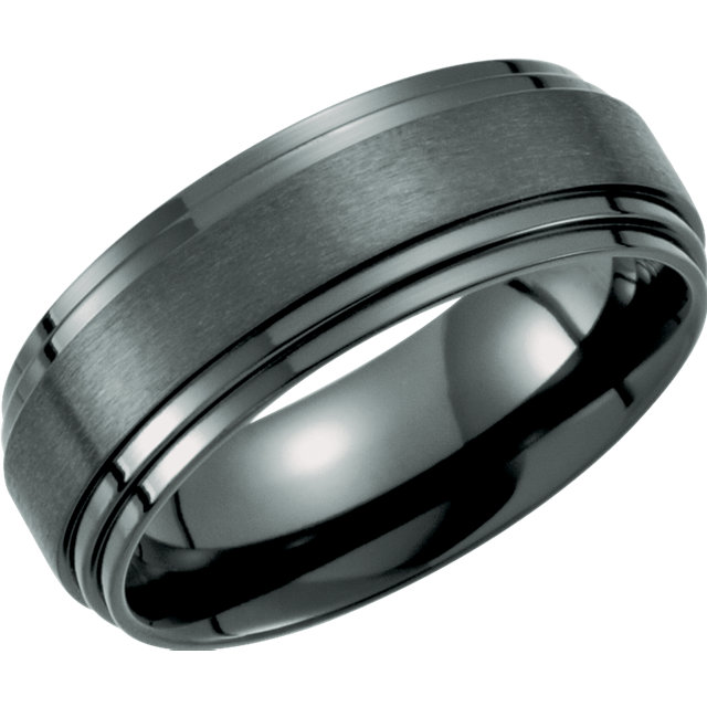 Black Titanium 8mm Double Ridged Band Size 9.5