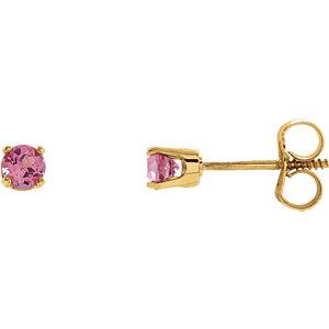 14kt Yellow Imitation Pink Tourmaline Youth Earrings