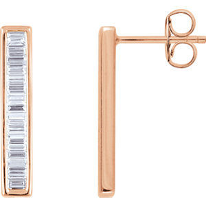 14kt Rose 1/  ATW Diamond<br> Baguette Vertical Bar<br> Earrings