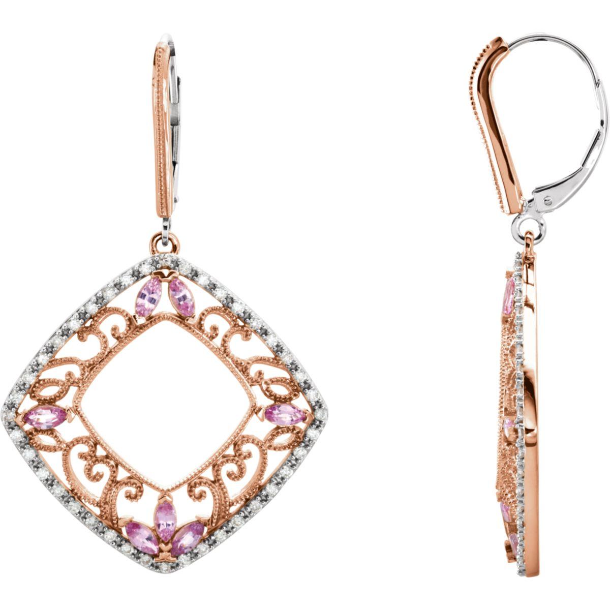 Midwest Jewelry - Earrings 14kt Yellow Pink Sapphire & 1/2 CTW Diamond Earrings