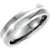 6.3mm Dura Tungsten® Domed Satin Band with Sterling Silver Inlay