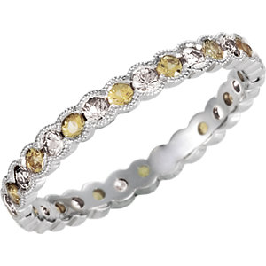 Diamond & Yellow Sapphire Eternity Band