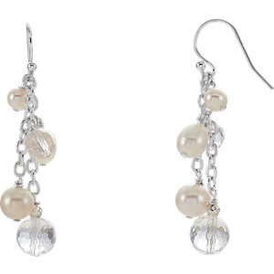 Freshwater Cultured Pearl & Crystal Dangle Earrings