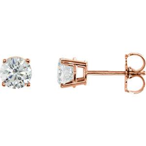 14kt Rose 1/A ATW Diamond<br> Earrings