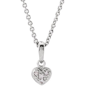 White Sapphire Heart 14 to 16 inch Necklace Ref 650756