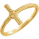 Sideways Cross Rope Design Ring