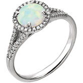 Gemstone & Diamond Halo-Style Birthstone Ring