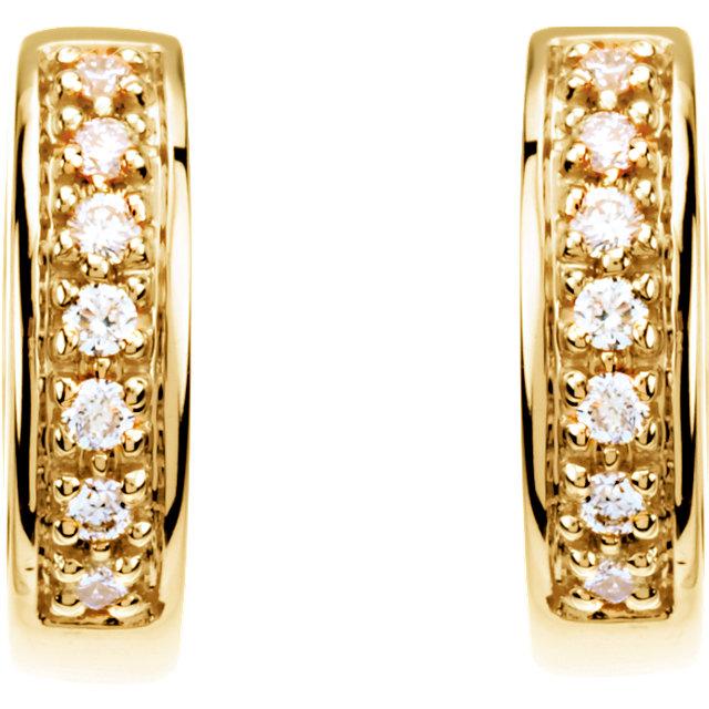 14K Yellow 1/6 CTW Diamond Hoop Earrings