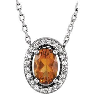Gemstone & Diamond Halo-Styled Necklace or Slide Pendant Mounting