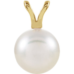 14kt Yellow 7mm Akoya Aultured Pearl Pendant