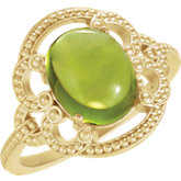 Peridot Cabochon Granulated Design Ring or Mounting