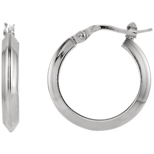 Round Knife Edge Tube Style Hoop Earrings