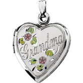 Grandma Heart Locket with Flowers