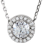 Diamond Halo Necklace or Pendant Mounting