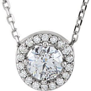 14kt White Forever Alassic™ Moissanite & . 4 ATW Diamond 16