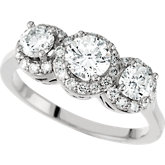 3-Stone Semi-Mount Engagement Ring