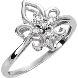 .03 CTW Fleur de Lis Diamond Ring Ref 650064