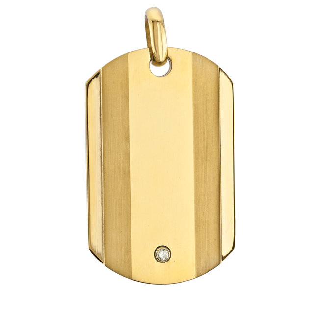 Gold Immerse Plated Stainless Steel Dog Tag Pendant