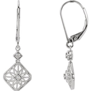 14kt White . 5 ATW<br> Diamond Filigree Lever<br> Back Earrings