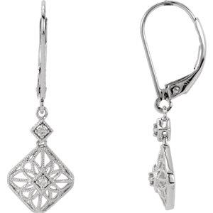 14kt White . 5 ATW Diamond Filigree Lever Back Earrings