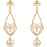 Heart Design Dangle Earring for Pearl with Fleur-de-Lis