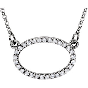 Diamond Horizontal Oval Necklace or Center Mounting